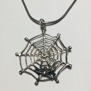 Jewelry - Sterling Silver Cobweb Spider Necklace